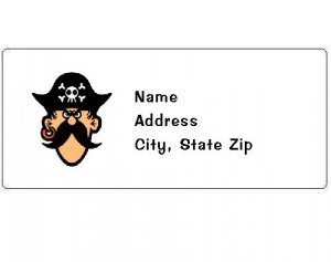 30 Personalized Pirate Face Return Address Labels