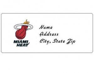 30 Personalized NBA Miami Heat Return Address Labels