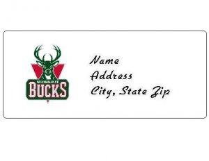30 Personalized NBA Milwaukee Bucks Return Address Labels