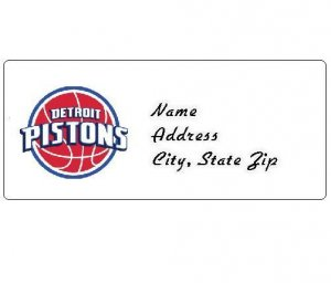 30 Personalized NBA Detroit Pistons Return Address Labels