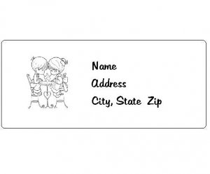 30 Personalized Black and White Precious Moments Return Address Labels