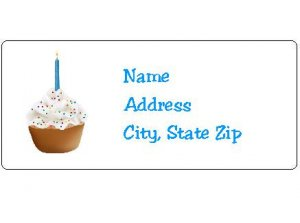 30 Personalized First Birthday Cupcake Return Address Labels
