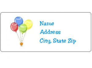 30 Personalized Birthday Balloons Return Address Labels