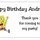 10 Personalized Spongebob Squarepants Party Goody Bag Labels