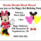 8 Personalized Minnie Mouse Birthday Invitations - 2 Designs Available