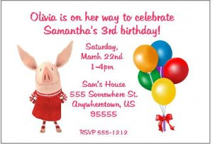 Olivia Pig Invitation http://www.ecrater.com/p/7093173/8-personalized-olivia-the-pig-birthday