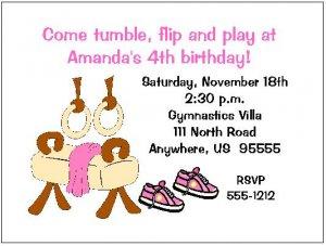 8 Personalized Gym Gymnastics Girl Birthday Invitations