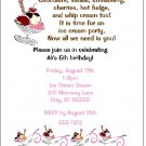 8 Personalized Ice Cream Sundae Party Birthday Invitations