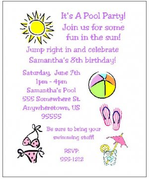 8 Personalized Swimming Party Girl Birthday Invitations
