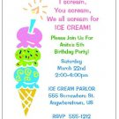 8 Personalized Ice Cream Party Birthday Invitations