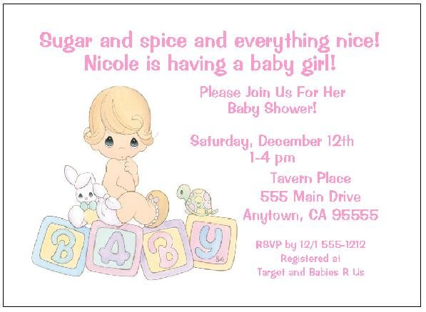 personalized precious moments baby girl shower invitations