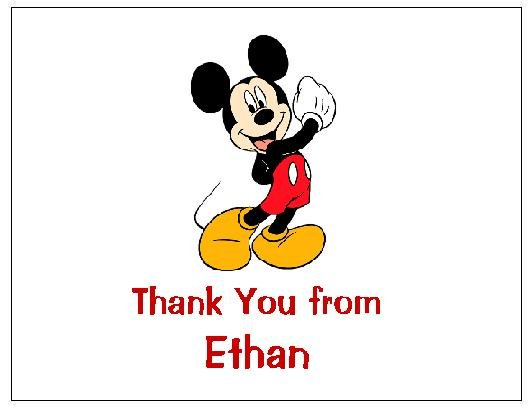 8 Personalized Mickey Mouse Thank You Cards / Note Cards