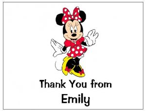 8 Personalized Minnie Mouse Thank You Cards / Note Cards