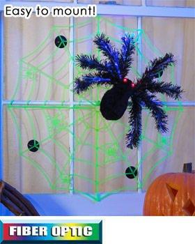 Halloween fiber optic spider web for Fiber optic halloween decorations home