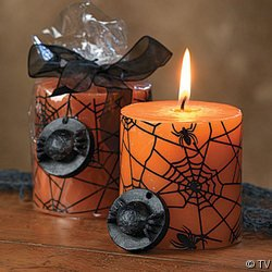 HALLOWEEN SPIDER WEB HALLOWEEN PILLAR CANDLE