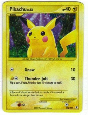 Pokemon Card Platinum Rising Rivals  Holo Pikachu 112/111