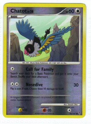 Pokemon Card Platinum Supreme Victors  Rev Holo Chatot 95/147