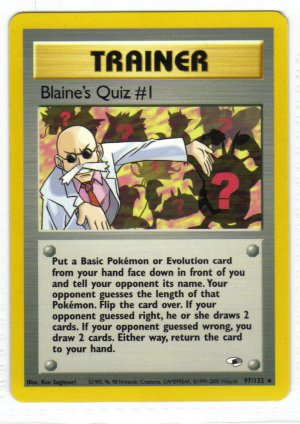 Pokemon Card Gym Heroes Trainer Blaine's Quiz #1
