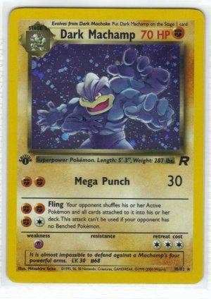 Pokemon Card Team Rocket Holo Dark Machamp 10/82