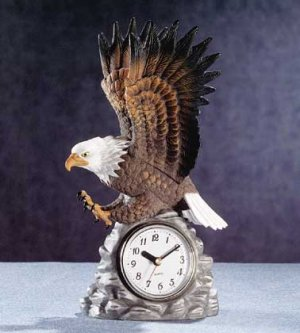 Beautiful Porcelain Eagle Clock NEW NIB
