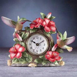 Porcelain Hummingbird On Clock NEW NIB