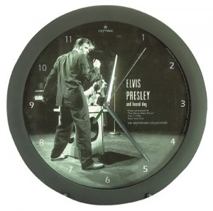 Elvis Presley And Hound Dog Clock NEW NIB