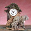 Alabastrite Elephant Mother & Baby Clock NEW NIB