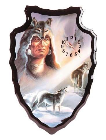 Wolf Spirit Arrowhead-Shaped Clock NEW NIB