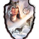 Wolf Spirit Arrowhead-Shaped Clock NEW NIB