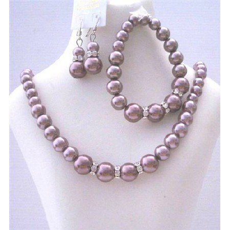 Bridal Bridemaides Simulated Burgundy Pearls Necklace Set w/ Stretchable Bracelet Silver Earring