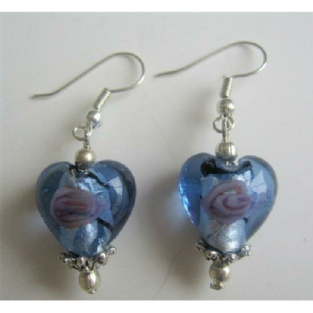 ERC371 Blue Heart Millefiori Self Designed Bead Earrings w/ Bali Silver Sterling Silver Earrings