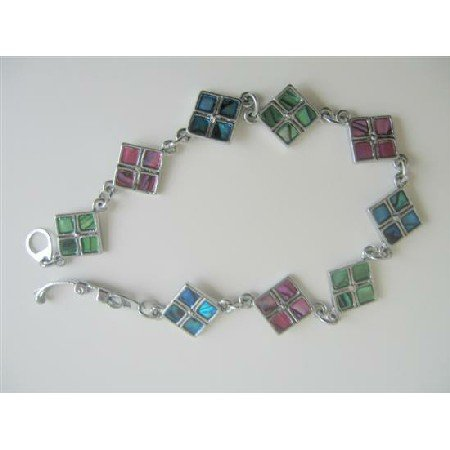Abalone Shell Bracelet Embedded Abalone Beads In Sequare Box Bracelet
