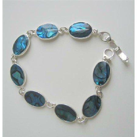 Oval Blue Abalaone Shell Bracelet