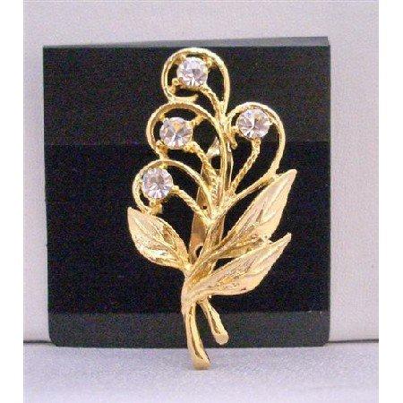 B215 Beautiful Gold Bouquet Brooch w/ Golden Leaf & Cubic Zircon Brooch