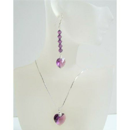 Romantic Jewelry Amethyst Swarovski Crystals Heart Pendant & Earrings Handmade Heart Jewelry Set