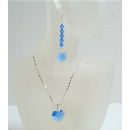 Lite Sapphire Crystals Heart Pendant Adorable Jewelry Set w/ Heart Pendant & Earrings
