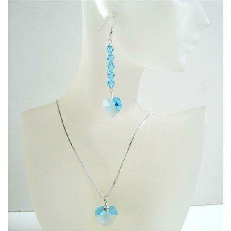 Sleek Soothing Aquamarine Heart Jewelry Set Handmade Crystals Neckalce Set
