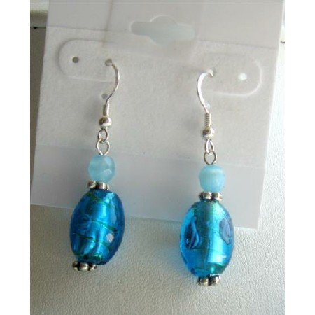 ERC376 Aquamarine Cat Eye Blue Millefiori Bead Earrings Sterling Earrings