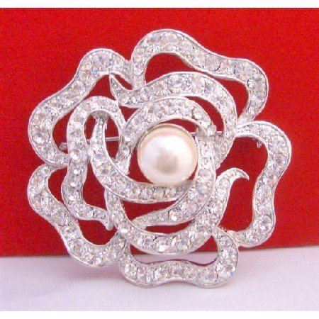 B265 Multi Round Rose Brooch Wedding Sparkling Brooch