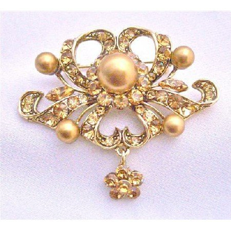 B263 Vintage Ethnic Copper Brooch w/ Flower Dangling Antique Gold Brooch