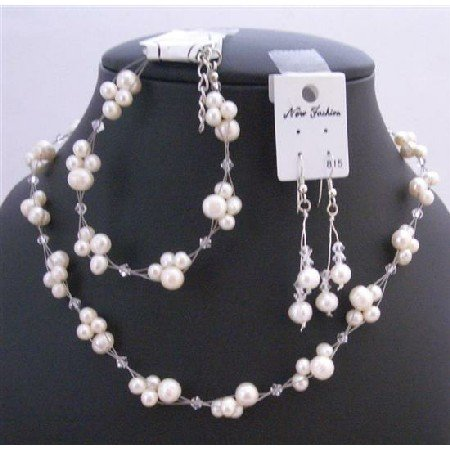 Freshwater Pearls Clear Crystals Bridal Bridemaids Jewelry Set Genuine Swarovski Clear Crystals Set