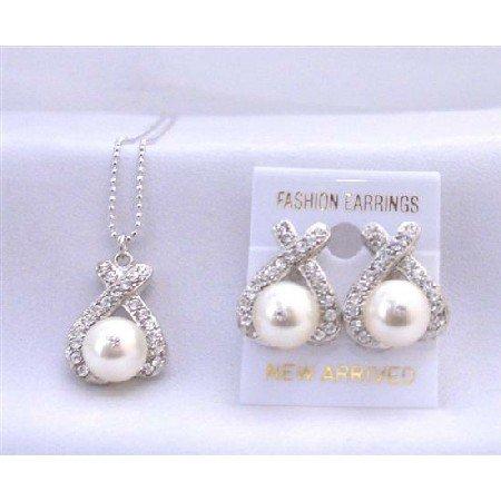 Swarovski Pearls 10mm Pendant Earrings Jewelry Set Cream Pearls Sparkling Simulated Diamond Set