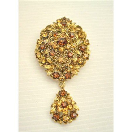 B159 Gold Vintage Style Brooch w/ Smoked Topaz & Lite Smoked Crystals Brooch