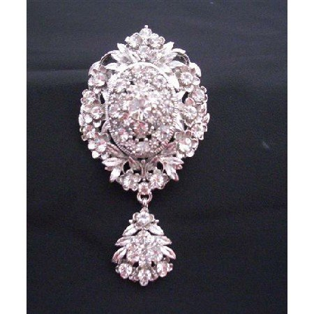 B164 Sparkling Diamond Brooch Simulated Diamond Dangling Brooch w/ Cubic Zircon Brooch