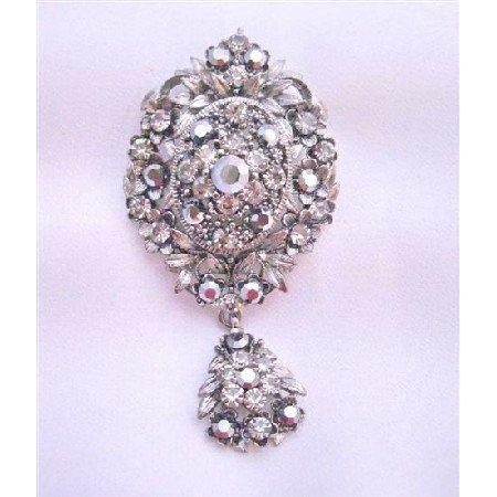 B172 Vintage Black Oxidized Black Diamond Crystals Dangling Brooch w/ Cubic Zircon Brooch