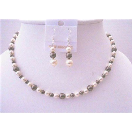 BRD451  Brown Ivory Pearls Flower Girl Swarovski Pearls Jewelry Set Necklace & Earrings