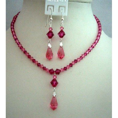 BRD338  Handcrafted Custom Bride Bridemaides Jewelry Genuine Swarovski Rose Pink