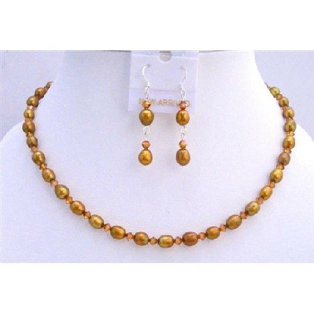 BRD698  Copper Freshwater Pearls Rice Shaped Pearls Jewelry Set w/ Genuine Swarovski Copper