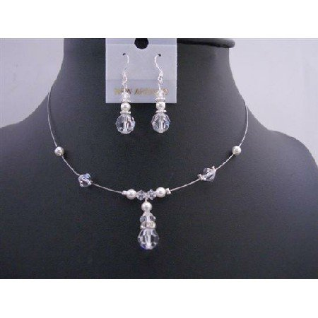 BRD671  Wedding Jewelry Custome Your Bridemaides Swarovski Clear Crystals White Pearls