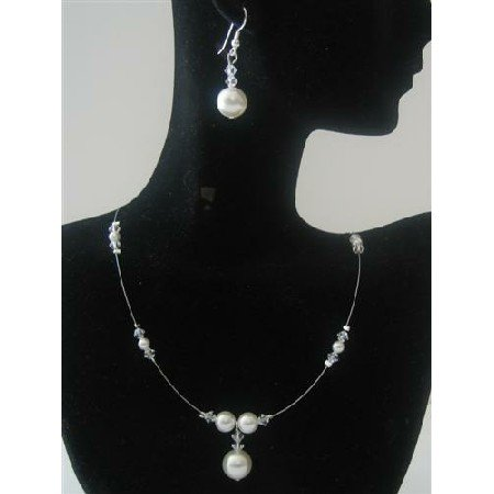 BRD479  Bridemaides Swarovski Clear Swarovski Crystals White Pearls Handcrafted Jewelry Set